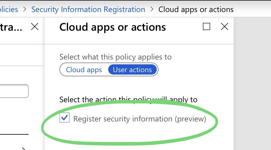 A screenshot of the new Security Information Conditional Access controls