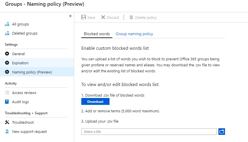 A screenshot showing the blocked words interface in the Naming Policy interface