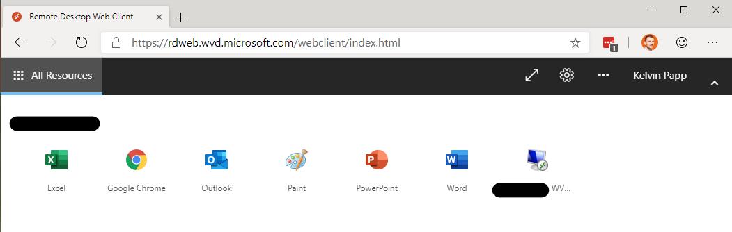 A screenshot of the Windows Virtual Desktop Web Client