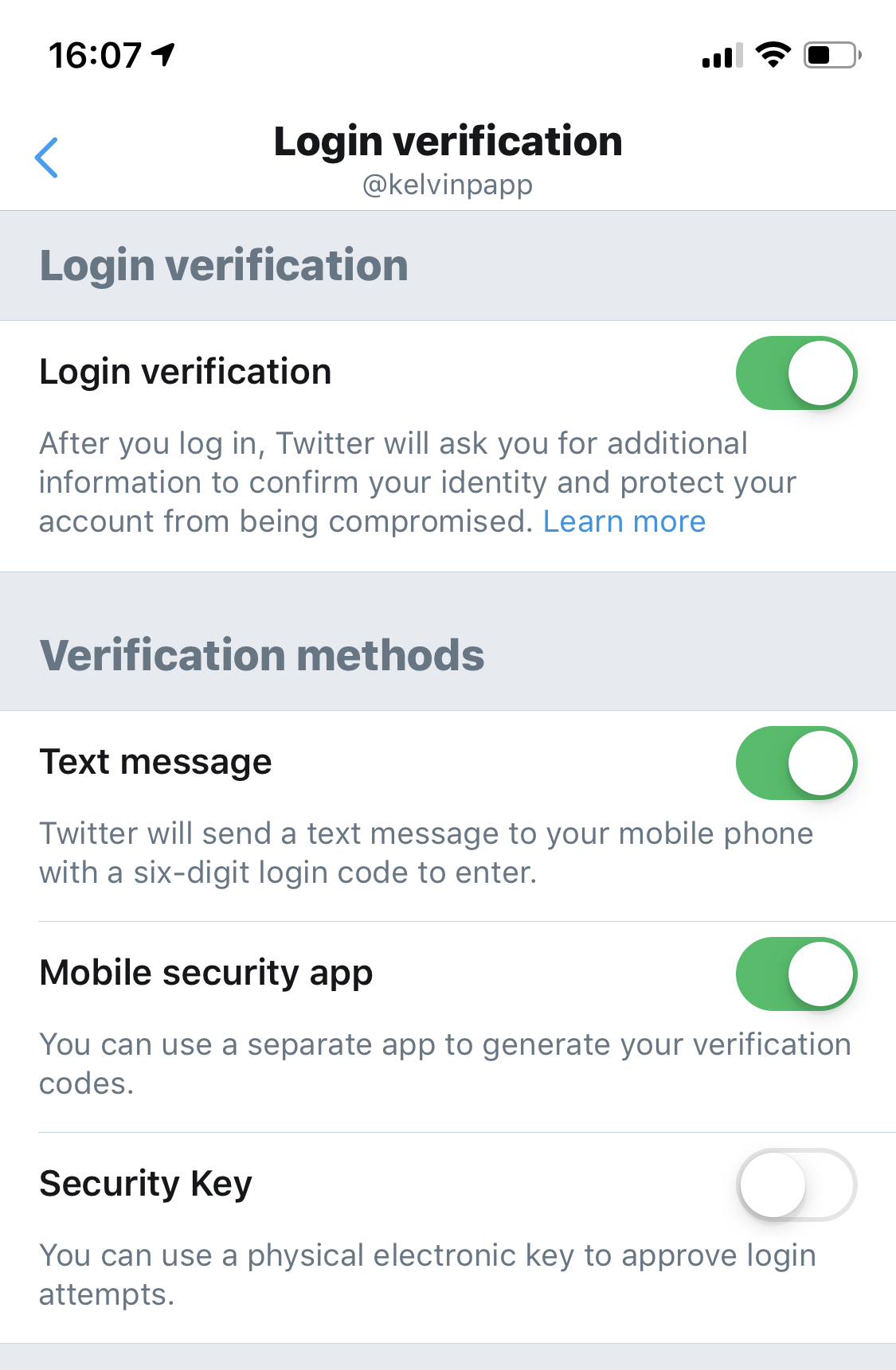 Login Verification Screen with SMS and Mobile Security App enabled