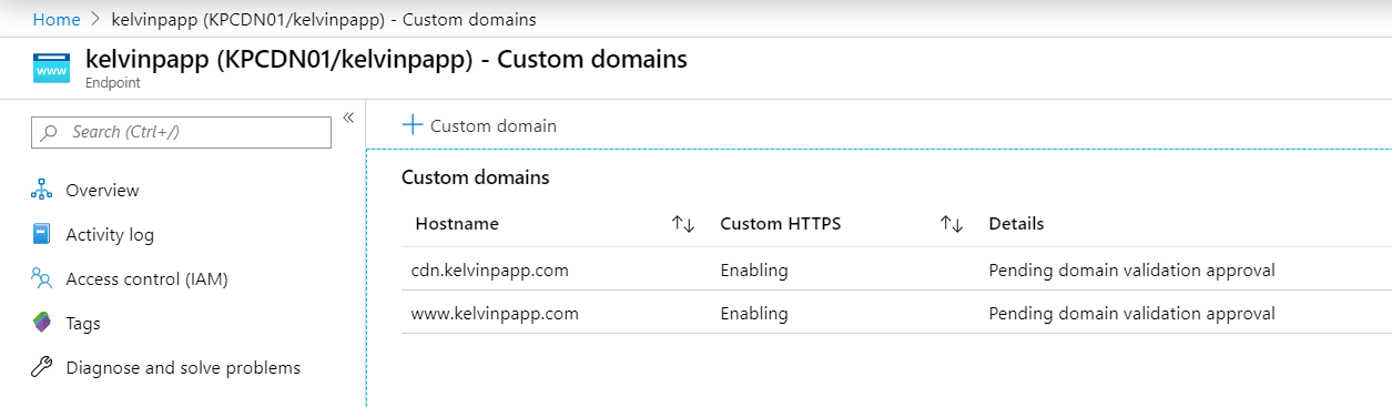 Custom Domain Name additions to the Azure CDN service