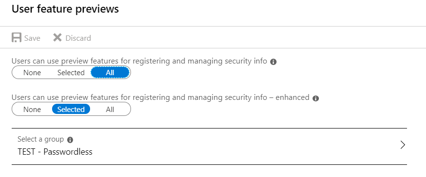 A screenshot from the Azure AD portal depicting the enabling of the combined MFA / SSPR experience
