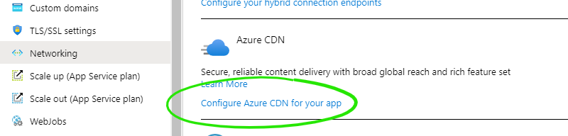 A screenshot of the setting for configuring Azure CDN, within the App Service settings