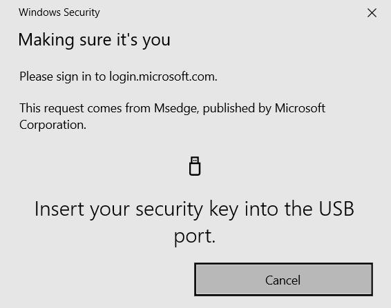 A prompt requesting that the user inserts their security key into the USB port