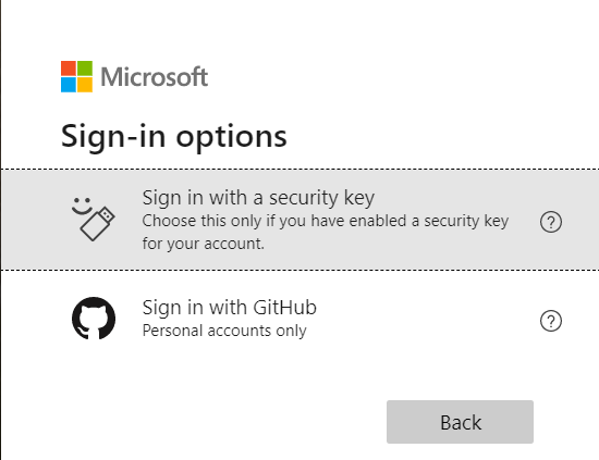 The sign-in options screen, with options for sign-in via Security Key, and sign-in via GitHub