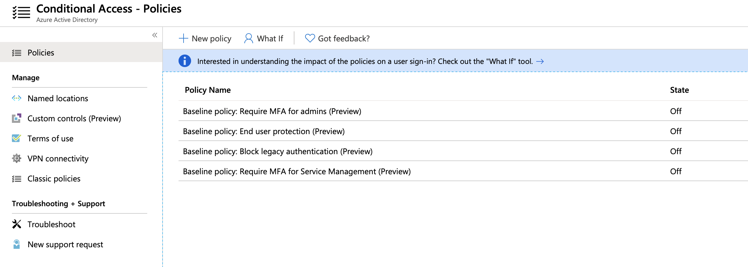 A screenshot showing the new baseline Conditional Access policies enabled
