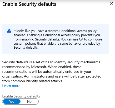 A screenshot depicting the error that results when trying to enable Security Defaults if Conditional Access is already in use.