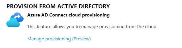 A graphic showing Cloud Provisioning in the Azure AD portal