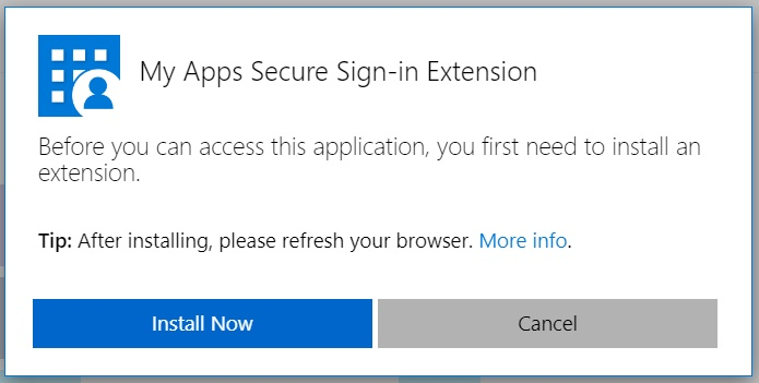 A prompt for the MyApps Secure Sign-In Extension to be installed