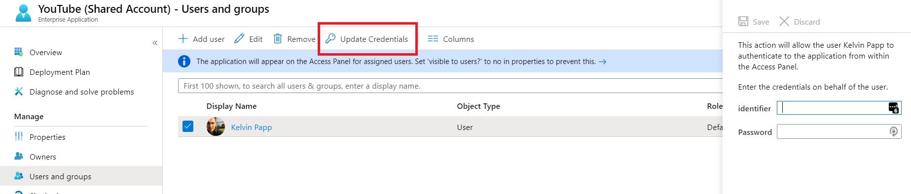 Setting the credentials that will be provided to YouTube when the user accesses the Azure AD application