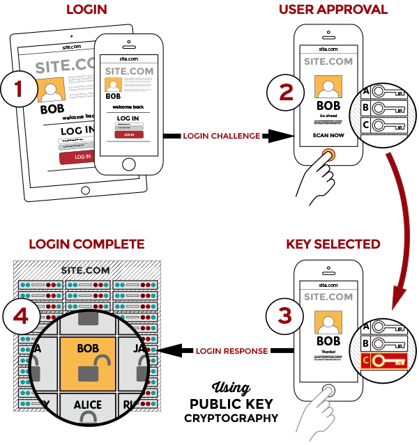 A graphic depicting the authentication process used in the original FIDO UAF standard.