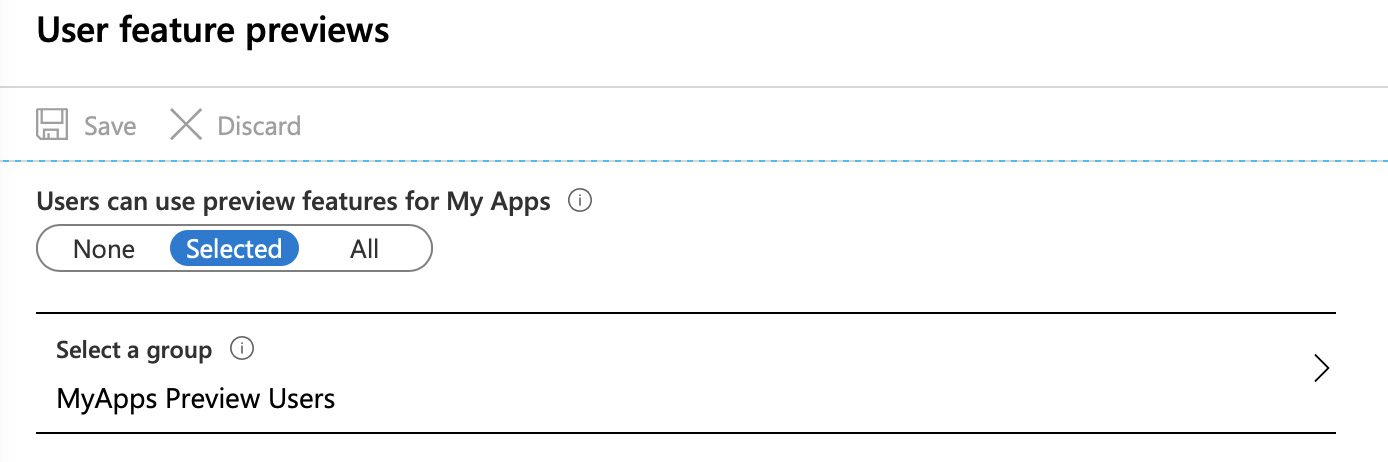 The settings pane used to enable the MyApps preview functionality