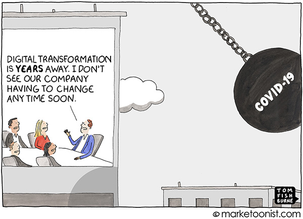 A Digital Transformation anecdote representing COVID-19 as a demolition ball to an organisation averse to digital transformation