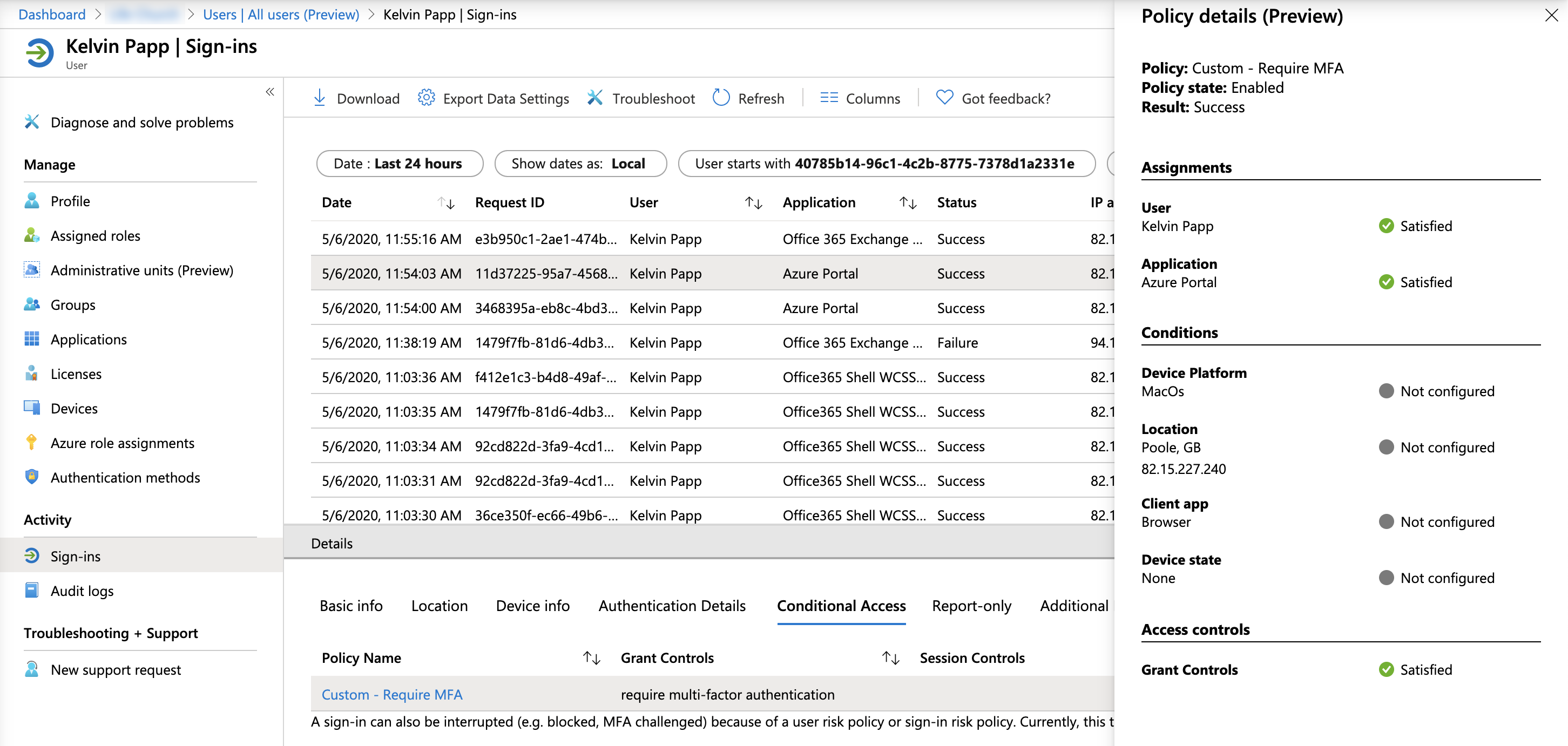 A screenshot of the Conditional Access Policy Details summary