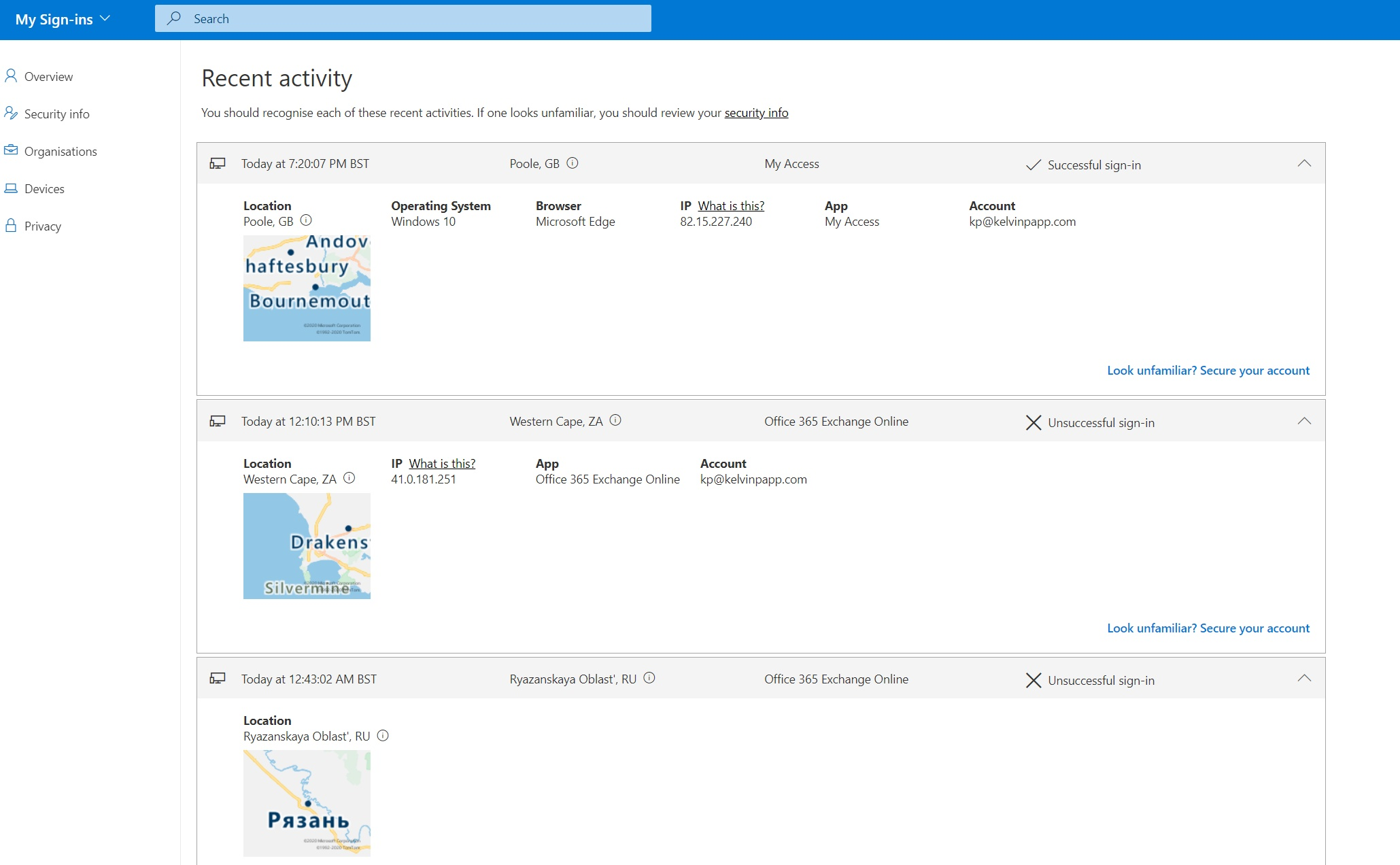 A screenshot of the My Sign-Ins dashboard