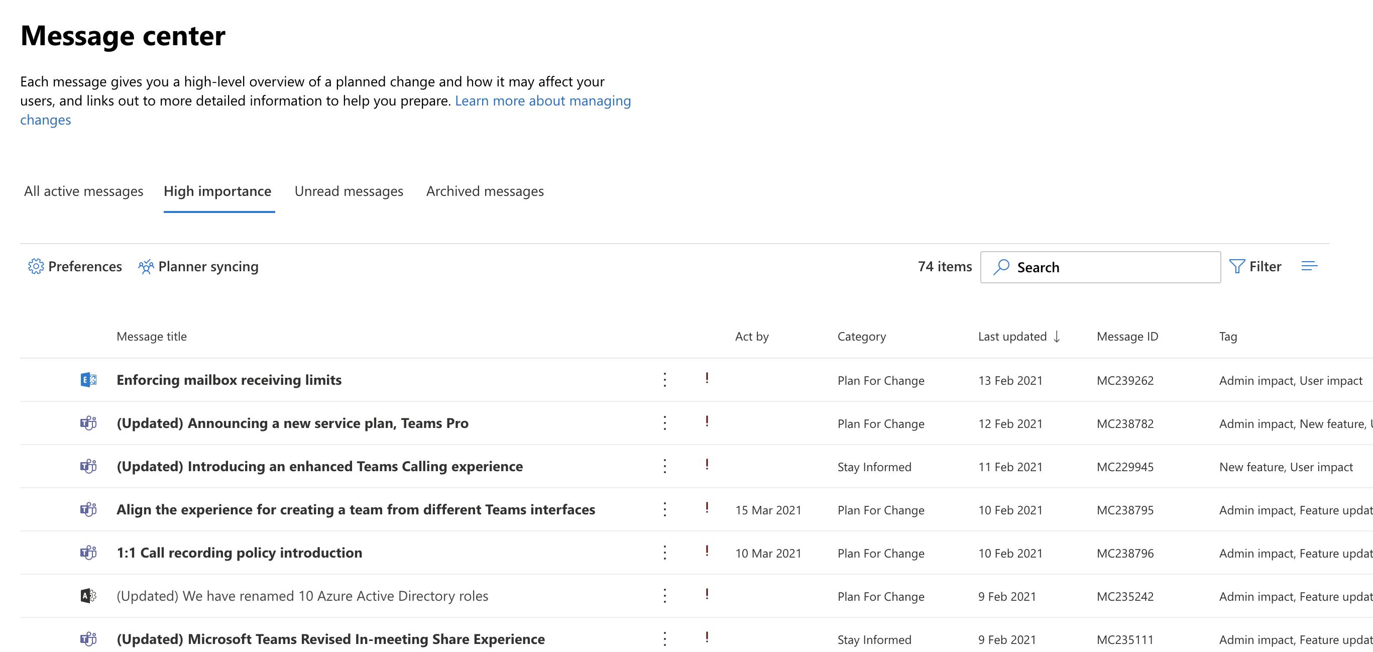 A screenshot of the Microsoft 365 Message Centre