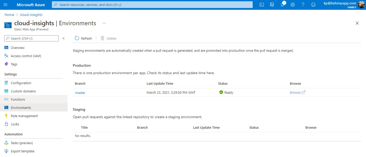 A view of the Environments section within an Azure Web App, showing the presence of a staging site aligned to GitHub repo pull requests